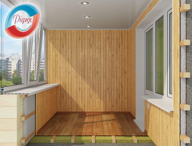 Внутренняя отделка балкона деревянной вагонкой - компания Ридня