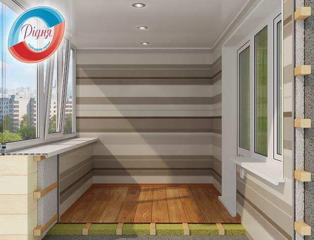 Внутренняя отделка балкона гипсокартоном - компания РИДНЯ