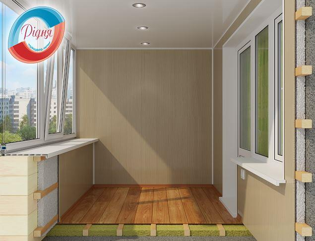 Ремонт балкона с обшивкой компания рИДНя