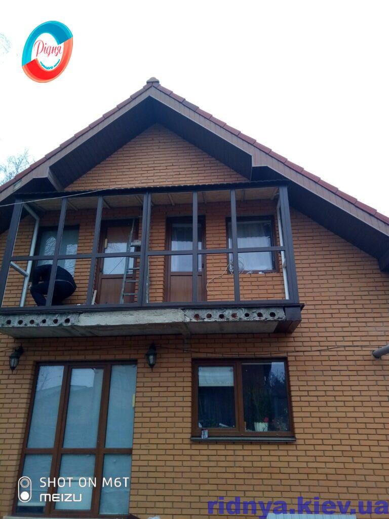 Французское остекление балкона в ламинации фото ™РИДНЯ